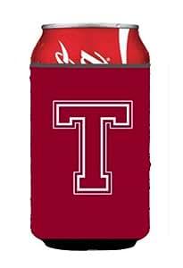 字母 T 首字母交织字母 - 栗色和白色罐或瓶子饮料绝缘体Hugger