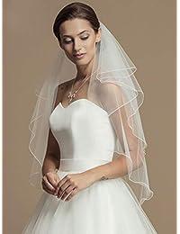 Unsutuo 2 层指尖婚礼面纱 带梳子 短新娘面纱 新娘用婚纱