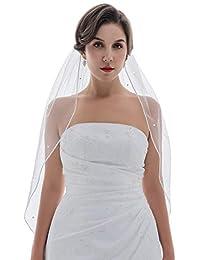 1T 1 层 0.32 厘米丝带边缘散射水晶新娘面纱肘长 76.2 厘米
