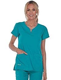 Grey's Anatomy Women's Signature Two Pocket Notch Yoke Neck Scrub Top