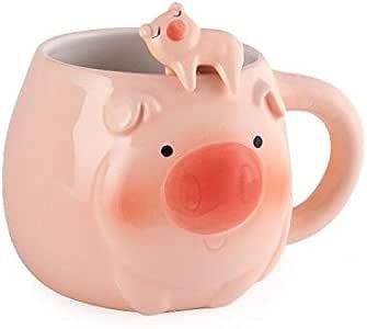 Hinomaru 系列可爱动物新颖陶瓷咖啡茶杯带配套勺子 414.03 毫升马克杯 猪猪 14 fl oz