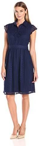 Lark & Ro Women's Dresses Cap-Sleeve Ruffle-Front Lace A-Line Shirtdress