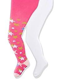 Playshoes 女婴弹性裤 Sterne Und Uni Mit Komfortbund 紧身裤(2 件装)