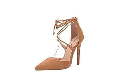 Mila Lady ETHER20 D'Orsay 系带脚踝绑带优雅防水台女士高跟鞋 驼色 8 M US