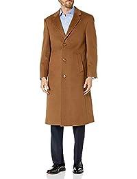 Prontomoda 男士单排扣黑色奢华羊毛/羊绒全长外套