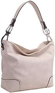 Mia K 系列女式流浪包 - PU 皮革手提包 - 女式單肩包 頂部提手時尚口袋錢包 Baige large