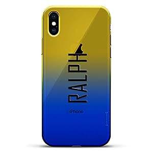 豪华设计师,3D 印花,时尚,高端,变色效果手机壳,适用于 iPhone Xs/X - 黄昏蓝小白色棒球图案LUX-IXCRM2B-NMRALPH2 NAME: RALPH, MODERN FONT STYLE 蓝色(Dusk)