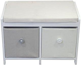 Entrada EN112158 两个抽屉木质橱柜,41.98cm x 60.02cm x 35.00cm,灰色