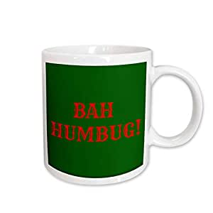 mug_201835 Xander holiday quotes - Bah Humbug red lettering on green background - Mugs 15-oz