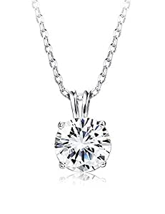 Sllaiss 套装 施华洛世奇锆石纯银单颗宝石吊坠项链 女士圆形切割 CZ 项链链珠宝礼品(2 克拉) 45.72 cm