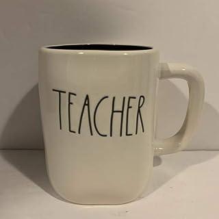 Rae Dunn 教师马克杯 - 黑色内饰 - 陶瓷 - 16 盎司 - 教师礼物 - 学校