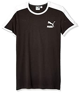 PUMA 男士 Iconic T7 修身 T 恤 棉 黑色 Medium