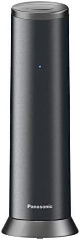 Panasonic 松下 KX-TGK220 设计电话,带电话答录机和闹钟,电话(无线),高清电话KX-TGK220GM 哑光黑色