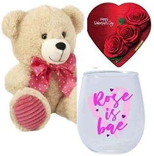 Rose is Bae Stemless 酒杯,棕褐色,8 英寸毛绒泰迪熊和Elmer's 心形巧克力盒