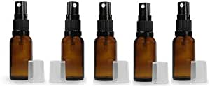 6 Grand Parfums 10ml Amber Glass Fine Mist Atomizer Spray Bottles, with Black Mister and Clear Hood, Essential Oil Safe
