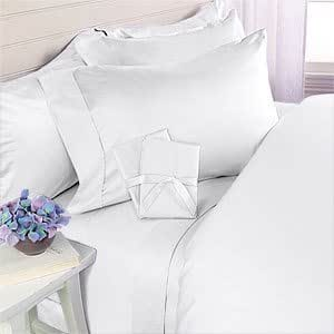 "Elegance Linen ? Wrinkle Resistant - 1200 Series Silky Soft Luxurious 4-Piece Sheet Set, Deep Pockets Fits Up to 16"" - All Size and Colors, King, White"