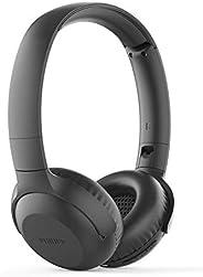 Philips 飞利浦 耳机 UH202BK/00 蓝牙耳机 (无线蓝牙 15 小时电池 软耳垫 麦克风 可折叠 黑色
