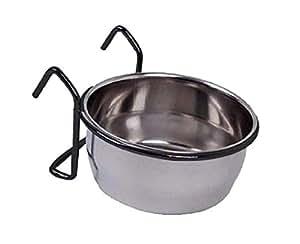 PETS EMPIRE 不锈钢鸟形杯喂食器碗带挂钩支架 银色 20oz