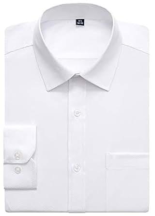 "J.VER 男式商务礼服衬衫常规版型纯色斜纹纹理长袖宽领 001 Twilled White 16.5"" Neck / 32""-33"" Sleeve"