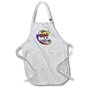 3dRose I Believe in Potato Chips Cute Believer Design Medium Length Apron with Pouch Pockets, 22 by 24""