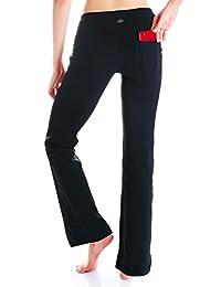 Yogipace,2 个后袋,73.66cm/78.74cm/83.82cm/88.90cm/93.98cm 内缝,女式靴型瑜伽裤健身裤,小号/常规/加长