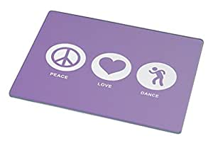 Rikki Knight Peace Love Dance Violet Color Large Glass Cutting Board