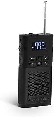 Schneider - Turner Piccolo 收音机,FM 调谐器,白色 LED 显示屏,电池,5 个*广播电台,黑色