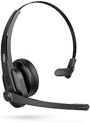 PC 耳机 蓝牙 TaoTronics 无线蓝牙 5.0 耳机 智能 AI 降噪技术 带麦克风 34 小时 游戏时间用于卡车司机电脑办公室呼叫中心Skype