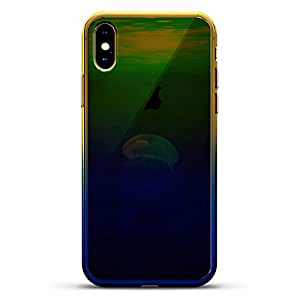 奢华设计师,3D 印花,时尚,高端,高端,Chameleon 变色效果手机壳 iPhone Xs MaxLUX-IMXCRM2B-JELLYFISH1 Jellyfish In The Ocean Seethrough Dusk Blue
