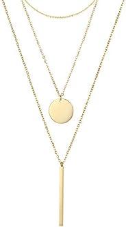 LAMOON 女士分層項鏈 14K 鍍金精致圓盤條 Y 形吊墜項鏈簡約不銹鋼圓形頸圈項鏈日常首飾(3 層項鏈-鏈碟 Vertica bar Y)