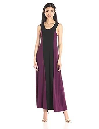 Star Vixen 女式无袖黑色条纹拼色无袖长裙 紫色/黑色 Large