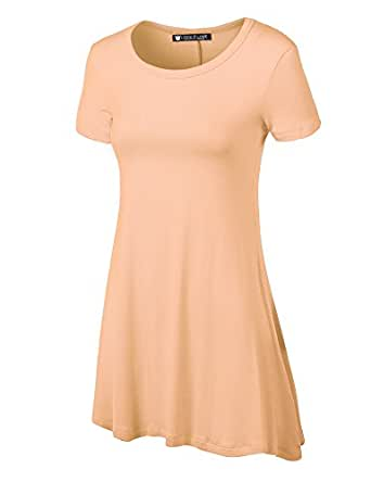 LL Womens Short Sleeve Trapeze Tunic Shirt - Made in USA  Wt770_peach Small