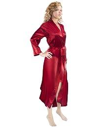 Aus Vio 100-Percent Silk Robe, Small/Medium, Red