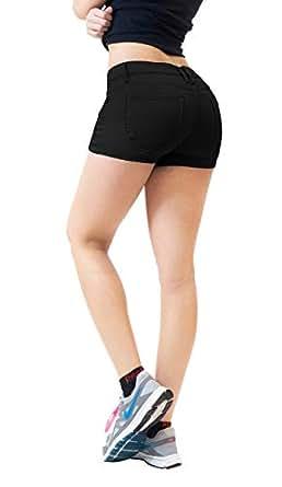 HyBrid & Company 弹力舒适女式 5 口袋牛仔短裤 Jr Plus 超弹力黑色 5