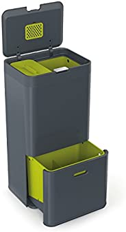 Joseph Joseph Intelligent Totem Bin Includes 4 L Waste Caddy, Stainless Steel, Graphite Grey, 60 Litre
