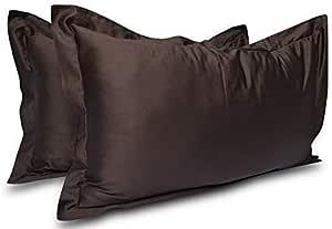 Idea Linen 欧式方形枕套 300 支 * 纯棉两件枕套靠垫套,枕套超柔软装饰 巧克力色 Standard 20''x 26''