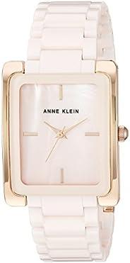 Anne Klein 女士AK / 2952LPRG玫瑰金色調和淺粉色陶瓷手鏈手表
