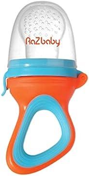 RaZbaby 婴儿水果喂食器/食物喂食器奶嘴,婴儿出牙玩具牙胶,6M+,添加宝宝*喜欢的冷冻水果或新鲜食物,缓解出牙*,硅胶袋/奶嘴,不含 BPA,橙色/蓝色