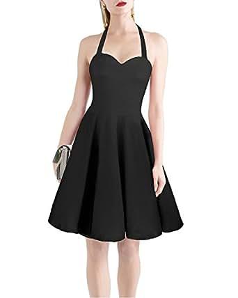 STYLEWORD 女式颈部系带休闲复古鸡尾*连衣裙 黑色 X-Large