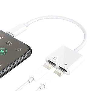 用于 iPhone 7/8/X/7 plus/8 Plus 的二合一闪电分路器适配器,双闪电耳机音频和充电适配器的双闪电端口。 (兼容 IOS 10.3,IOS 11 及更高版本)-白色 Lightning adapter-White01