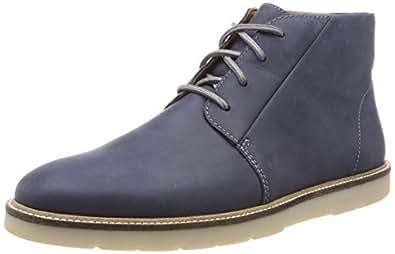 Clarks 男士 Grandin 中号Chukka 靴子 蓝色(*蓝皮革) 41 EU