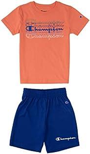 Champion 男童 2-7 短裤套装网布和法国厚绒布短裤