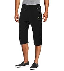 MAGCOMSEN 登山短裤 男式速干七分裤 短裤 口袋 男式裤子 跑步款 修身短裤 US 32 黑色 MCS12327-77-Black-XL