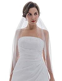 1T 1 层水晶种子串珠婚礼面纱 指尖长度 91.44cm
