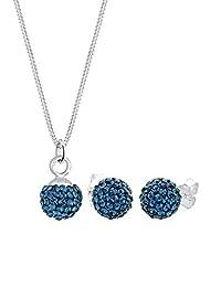 Elli 女士饰品套装 项链 plus 耳环925纯银 水晶 Swarovski施华洛世奇水晶 蓝色