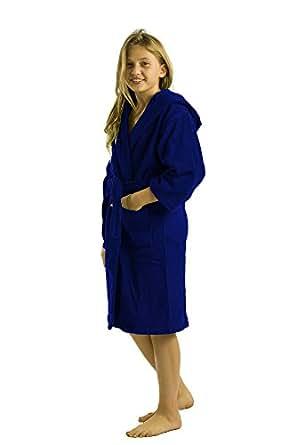 中性款竹连帽儿童浴袍,棉毛巾浴袍适用于女孩和男孩 海蓝色 Small