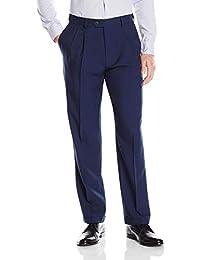 Haggar 男式 eCLo 纹 腰部可扩展,前面褶皱正装裤  蓝色 36W x 30L