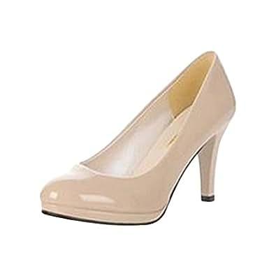 maritchi 女式低防水台高跟鞋舒适高跟鞋3in 跟简单 SHOES 40码 (M) US 米色