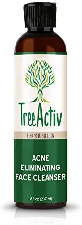 TreeActiv 祛痘洁面乳 | 天然面部护理洁面乳 | 绒面皂 | 硫磺 | 炭黑色 | 维生素 C | 薄荷绿 | 男士女性青少年 | 敏感 无香 | 8 液体盎司