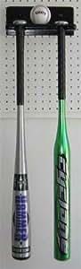 DisplayGifts Baseball Bat Wall Hanger Rack Holder, Holds 1 ball and 2 bats (Black)